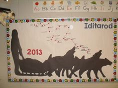 Iditarod, I made this for in back of my desk, we did around the world. This was for Alaska. This is the one I copied. Dog Bulletin Board, Teacher Bulletin Boards, Reading Bulletin Boards, High School Classroom, School Fun, School Stuff, Classroom Themes, Classroom Organization, School Days