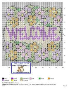 FLOWER WELCOME by TRICIA -- WALL HANGING