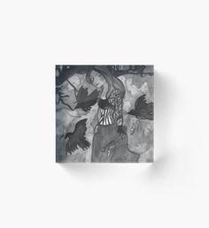 Raven Witch - Black & White Acrylic Block Autumn Nature, Autumn Art, Autumn Leaves, Autumn Witch, Autumn Illustration, Green Palette, Horror House, Halloween Celebration, Witch Art