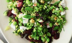 Pan-roasted beetroot, soft goat's cheese, mint and broad bean salad