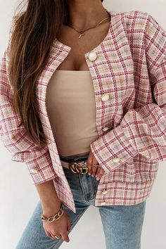Cardigans For Women, Coats For Women, Jackets For Women, Casual Blazer, Spring Tops, Plaid Jacket, Jacket Buttons, Outerwear Jackets, Women's Jackets