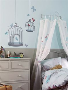 Love the bird cage wall decals: OR…I could SO paint this.