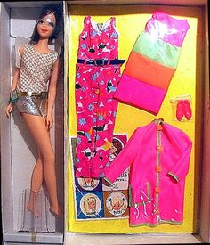 Sears exclusive 'Casey Goes Casual' Gift Set, #3304,1967. Casey's gift set had the only clothes that were made just for her. The set came with the #1180 doll as well as a green, orange and pink dress, pink coat with green trim, a floral jumpsuit and pink pumps.