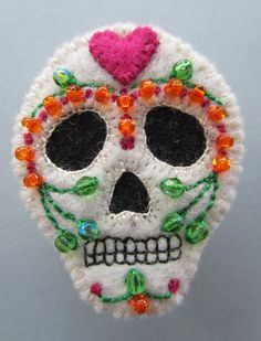 Mexican Day of the Dead Beaded Wool Felt Skull Brooch with Pink Heart