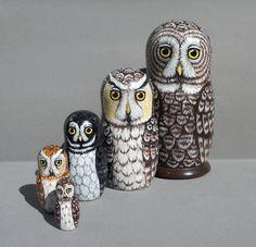 Nesting Doll Owls Set of 5 Moon Shadows