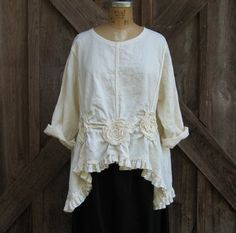 linen top ruched with roses by linenclothing on Etsy, via Etsy.