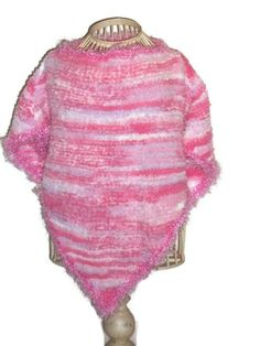 Hand Knit Toddler Girls Poncho  Assorted Pink  Size by Shelly6262, $24.95