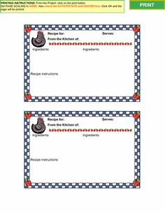 Cooking Recipe Card Templates For Microsoft® Word On A Windows® System And  Copies In