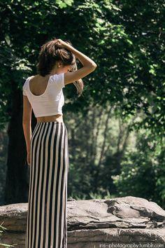 b/w striped maxi skirt + white crop top