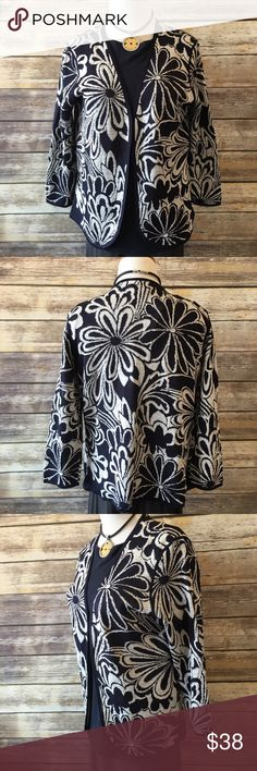 """Talbots Shimmer Open Front Cardigan Beautiful floral design in silver shimmery color on a dark navy cardigan. Measures from pit to pit 21""""/ length 25"""".  Made from 73% silk/ 17% poly/ 10% metallic Talbots Sweaters Cardigans"""