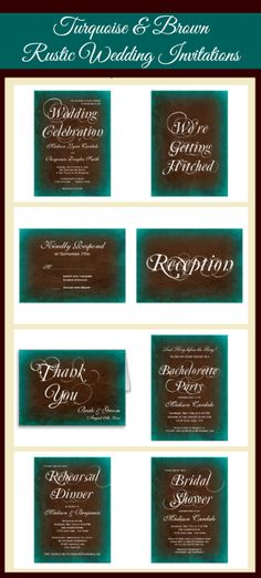 Turquoise and Brown Distressed Rustic Country Wedding Invitation Set.