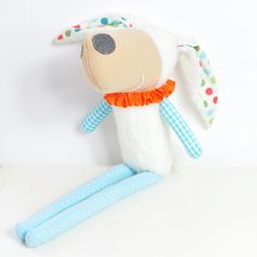 Laura the #sheep is a #softToy made of wool, cotton fabrics and trims.  by PinkNounou