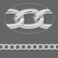 Chain, anodized aluminum, silver, 6x4mm curb. Sold per pkg of 25 feet. 1-14 $16.93, 15-49 $13.82