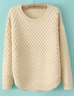 Beige Long Sleeve Diamond Patterned Sweater