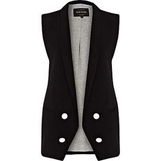Black longline double breasted waistcoat $90.00 river island