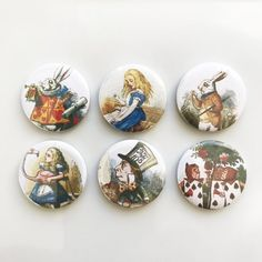 Alice in Wonderland Pin Button Badge set of 6 - 25mm 1 inch Mad Hatter Tea Party Prop Classic Book Illustrations #aliceinwonderland #badge #illustration