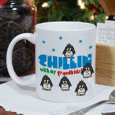 Chillin' Penguin Personalized Winter Coffee Mug Our Personalized Winter Coffee Mug will make a Perfect Stocking Stuffer. Dishwasher safe and holds 11 oz. Includes FREE Personalization! Personalize your Grandma Coffee Mug with any title and up to 30 names. http://kittykatkoutique.com/e-shop/christmas/personalized-gifts-personalized-christmas-gifts/