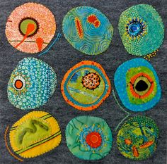 From the Material Mavens blog: Barbara's Cell - Under the Microscope. Cell shapes re-imagined in fabric and tread.