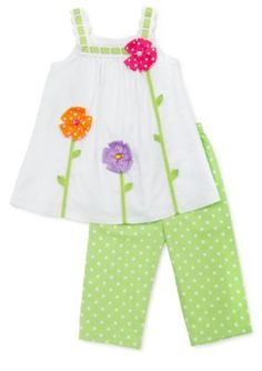 Rare Editions Flower Tank and Swiss Dot Capri Set Girls Toddler Fashion, Toddler Outfits, Kids Outfits, Kids Fashion, Toddler Dress, Fashion 2020, Sewing Kids Clothes, Doll Clothes, Children Clothes