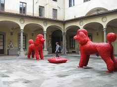 These sculptures were in a public courtyard of the Accademia di Belle Arti in Firenze, the same building that houses Michelangelo's David. Nice contrast in contemporary versus classical.