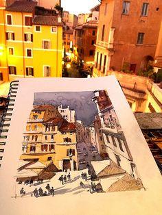 Thomas W Schaller Sketch of Campo de 'Fiori at the end of Day - Pencil and watercolor on Stillman & Birn Beta Series.