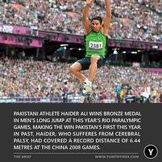 Pakistani Athlete Haider Ali wins Bronze medal in men's long jump at this years Rio Paralympic Games