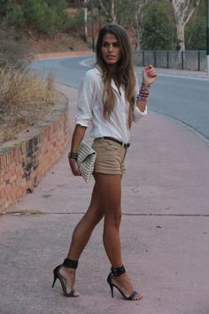 pale stripes, shorts, heels