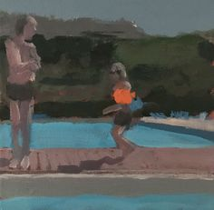 Seeger Baas, Zwembad, 2018 | Galerie Mokum Contemporary Artists, Hanging Out, Swimming Pools, Fine Art, Canvas, Mixed Media, Paintings, Image, Photos