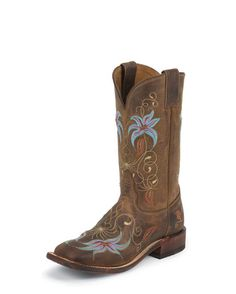 Women's Suntan Century with Embroidered Flower Boot    Blue: Check  Low Heel: Check  Wider Toe: Check  :D  Expensive: Check :(
