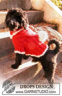 """Knitted DROPS Christmas jumper for you dog in """"Alpaca"""" and """"Puddel"""". ~ DROPS Design"""