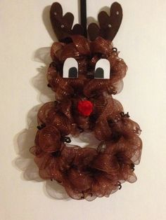 Deco Mesh Reindeer Wreath by Collective Creations