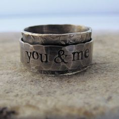 Rustic Spinner Ring - personalized. $110.00, via Etsy.