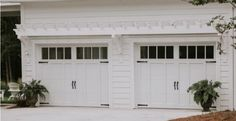 Garage Doors Rank As Top Home Improvement Project... AGAIN White Garage Doors, Garage Door Colors, Garage Door Windows, Garage Door Design, Front Door Trims, Old Garage, Cottage Exterior, Brickwork, Home Improvement Projects