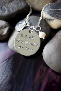 Book quote necklace - not all who wander are lost - handstamped with compass and pearl charms