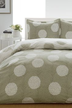 City Scene Raindance Mini Duvet & Sham Set - Sage - Full/Queen by Tommy Hilfiger and City Scene on Comforter Sets, Home, Polka Dot Bedding, Cotton Duvet Cover, King Comforter Sets, Bed, Duvet Cover Sets, Bedding Sets, Bedding Collections