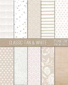 Tan And White Digital Scrapbook Paper Set by PhantomPrintingPress. Instant Download. Chevron, damask, dots, stripes, swiss cross, brick, floral, and burlap pattern. $2.99