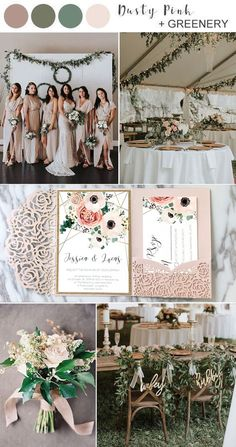 wedding invitations ideas dusty pink nad greenery wedding color ideas with matched wedding invitations Olive Green Weddings, Dusty Pink Weddings, Sage Green Wedding, Dusty Rose Wedding, August Wedding Colors, Spring Wedding Colors, Champagne Wedding Colors, Neutral Wedding Colors, Wedding Color Pallet