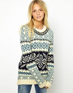 Bellfield   Bellfield Jacquard Sweater With Neck Detail at ASOS