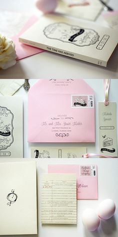These book theme invitations were made from cardstock with a whimsical chicken and pocket watch theme. The response cards were designed as library cards and quotes from the couples' favorite books were included in the pages of the book. Click to see more of the photos or pin to see later!