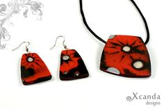 Hey, I found this really awesome Etsy listing at https://www.etsy.com/listing/177593522/polymer-clay-jewelry-set-red-and-black