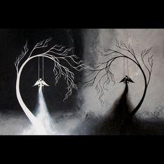 Original Contemporary Tree Painting  Fantasy by BestArtStudios2
