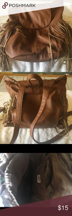 Modsimo fringed brown faux backpack Modsimo brown fringe backpack approx 12x13 Bags Backpacks