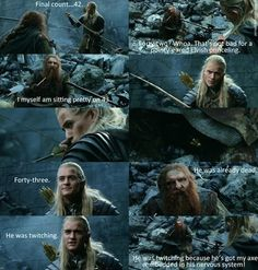 Lord of the Rings quote - one of my favorite scenes in the movies!!!! ONE OF THE MANY LESSONS IN LOTR: THE IMPOSSIBLE FRIENDSHIP OF LEGOLAS AND GIMLI