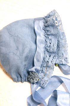 Blue Baby Bonnet. Vintage linen baby. Cotton baby girl hat. Easter bonnet, Damask Rose pattern. Infant photo prop. antique bonnet. shower