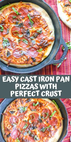 Easy Cast Iron Pan Pizzas with Perfect Crust - 4 Sons 'R' Us Easy Main Course Recipes, Quick Recipes, Healthy Recipes, Amazing Recipes, Free Recipes, Cast Iron Pizza Recipe, Cast Iron Recipes, Cast Iron Pizza Pan, Pizza Flavors