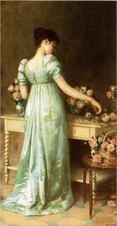 ⊰ Posing with Posies ⊱ paintings of women and flowers - Arranging Pink Roses (1891) by De Scott Evans (1847–1898)