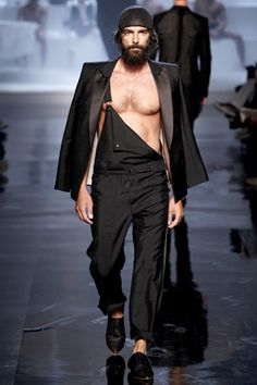 cheeky runway lumbersexual showing how to dress up a pair of overalls, Jean Paul Gaultier Spring 2011 // menswear style inspiration