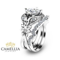 Moissanite Engagement Ring Set Unique Flower by CamelliaJewelry