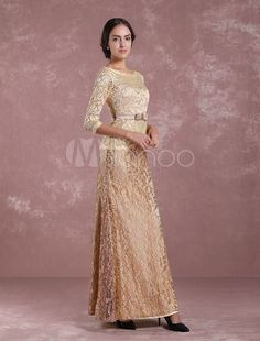 5300a9491314 Sequin Evening Dress 2 Piece Applique Mother Of The Bride Dress Light Gold  V Neck Mermaid Wedding Guest Dresses Wi…