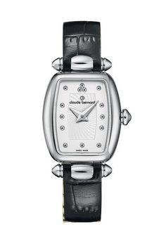 Claude Bernard 20211 3 AIN Women's Watch Silver-Tone Tonneau Case Black Leather Strap